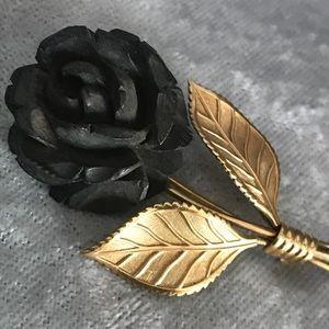Vintage 12k GF Van Dell Black Rose pin brooch